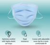 Picture of JVD Protective Face Mask, 3 ply, CE & FDA Approved, BFE 99.9% with ear loop and nose clip (8881850-V3)