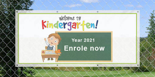 Outdoor banner for year 2021 enrolment